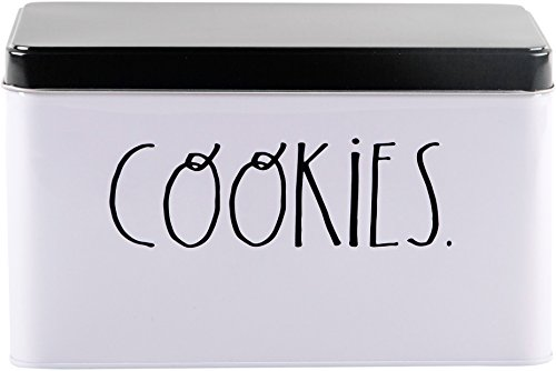 Rae Dunn Cookie Tin in Black and White Design with Cookies - Tin Cookie Jar