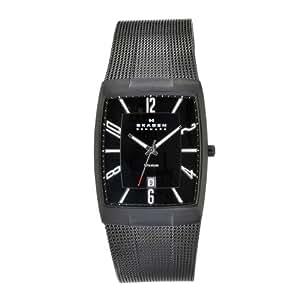 Skagen Men's 851LTBB Skagen Denmark Black Titanium Rectangle Watch