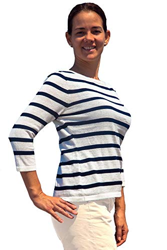 TINKUY PERU - Pima Cotton & Lightweight Baby Alpaca - Women's Summer Pullover Sweater 3/4 Sleeve Boatneck Breton Stripes Knit Shirt Top White/Blue ()