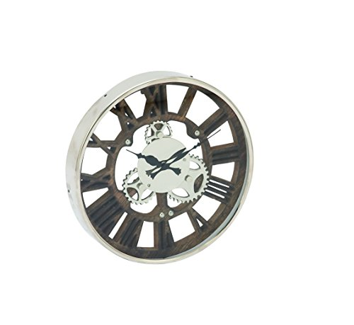 Deco 79 42457 Stainless Steel Wood Aluminum Wall Clock, 14