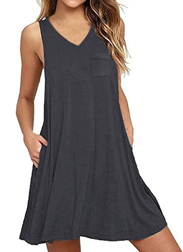 Yanekop Womens Summer Sleeveless Swing T-Shirt Dress Beach Loose Tank Dress with Pockets(Dark Gray,S)