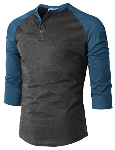 H2H Mens Casual Premium Slim Fit T-Shirts Henley 3/4 Sleeve Cotton Blended CHARCOALBLUE US S/Asia M (CMTTS239)