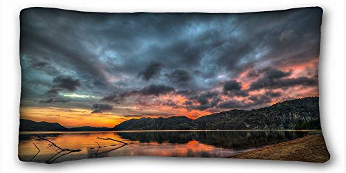 Soft Pillow Case Cover ( Nature lake Hills branch evening sunset clouds ) Soft Pillow Case Cover 20*36 Inch (One Sides)Zippered Pillowcase suitable for X-Long Twin-bed ()