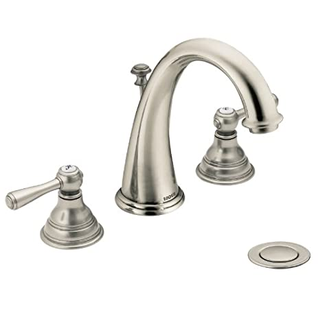 Moen T6125AN Kingsley Two Handle High Arc Bathroom Faucet Without Valve,  Antique Nickel