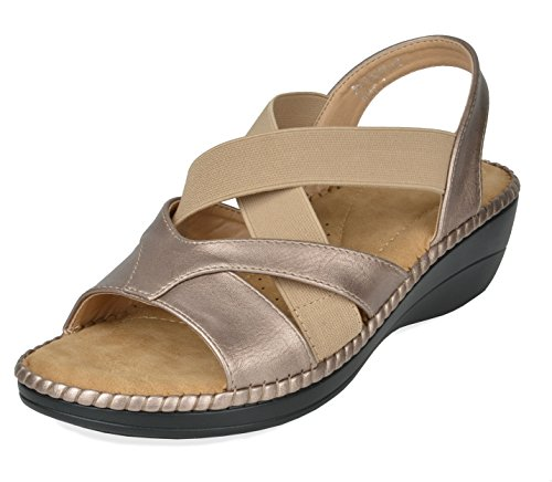 (DREAM PAIRS Women's Truesoft_02 Gold Low Platform Wedges Slingback Sandals Size 7.5 B(M) US)