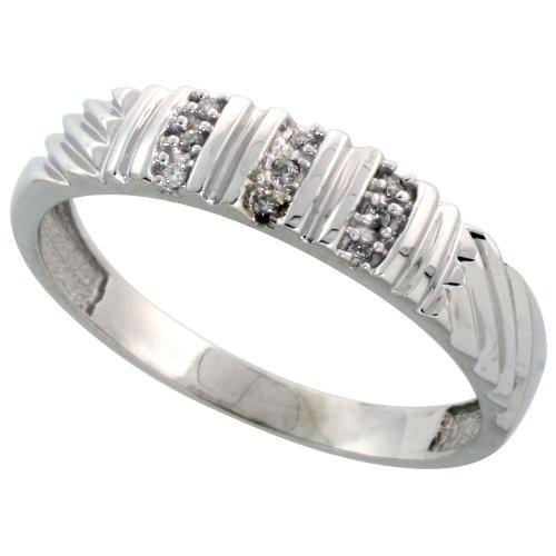 Sterling Silver Mens Diamond Wedding Band Rhodium finish, 3/16 inch wide, Size (Gents Diamond Wedding Ring)