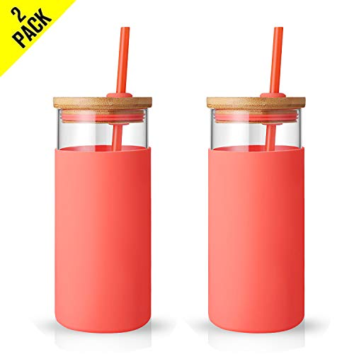 Tronco 20oz Glass Tumbler Glass Water Bottle Straw Silicone Protective Sleeve Bamboo Lid – BPA Free