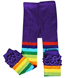 Wrapables Rainbow Ruffle Toddler Leggings - Purple 105cm