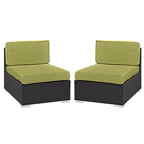 Modway Convene Armless Chair Outdoor Patio (Set of 2), Espresso Peridot