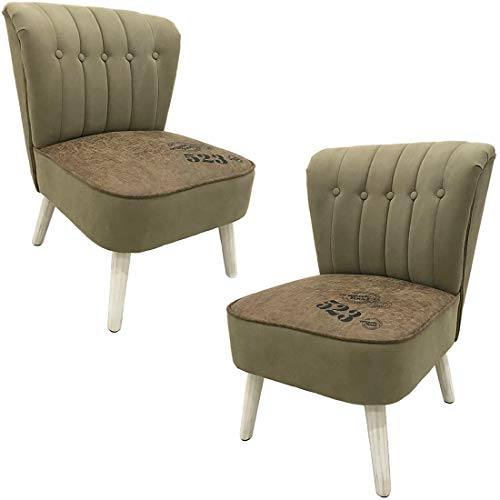 Accent Sofa Chair Set of 2, Leisure Armless Slipper Chair with Solid Wood, Side Chair Set, Vintage Casual Upholstered Chair for Bedroom Living Room Office