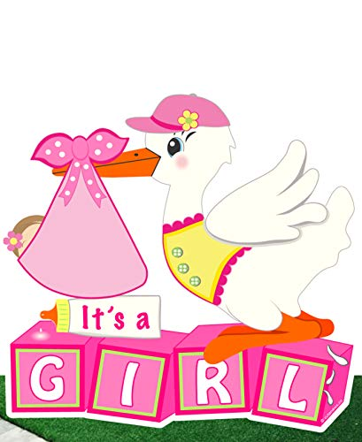 Cute News Welcome It's a Girl Yard Stork Sign - Newborn Baby Lawn Birth Announcement - Outdoor Special Delivery Greeting Display - Pink Shower Party Decoration - Pregnancy Gift (Building Blocks Theme) ()