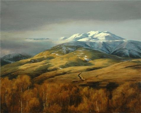 Liu Tapestry Throw (The Polyster Canvas Of Oil Painting 'Liu Xiaodong,Snow Mountain In Autumn,21th Century' ,size: 16x20 Inch / 41x51 Cm ,this High Resolution Art Decorative Canvas Prints Is Fit For Basement Decor And Home Artwork And Gifts)