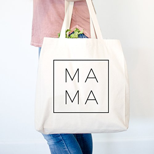 (Modern MaMa Square Heavy Duty 100% Cotton Canvas Tote Shopping Reusable Grocery Bag 14.75 x 14.75 x 5)