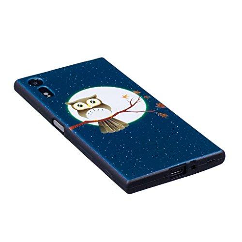 Trumpshop Smartphone Carcasa Funda Protección para Sony Xperia XZ + Claro de luna y búho + Serie Talla Ultra Suave Flexibles TPU Silicona Resistente a arañazos Caja Protectora Claro de luna y búho
