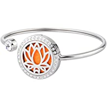 Lotus Flower Essential Oil Diffuser Bracelet Aromatherapy Stainless Steel Locket Bangle With Crystal By Jenia