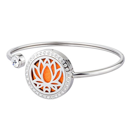 Lotus Flower Essential Oil Diffuser Bracelet Aromatherapy Stainless Steel Locket Bangle With Crystal By - America Mall Of Dress Shops In