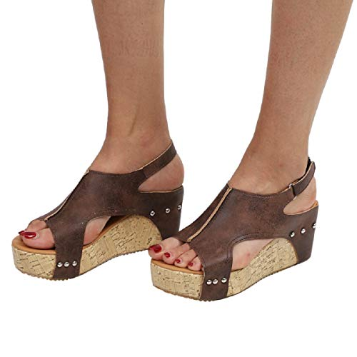 ALOVEMO Womens Wedges Sandals Platform Peep Toe Slingback Summer Cork Sandals (Brown, US:7.5-EU:39)