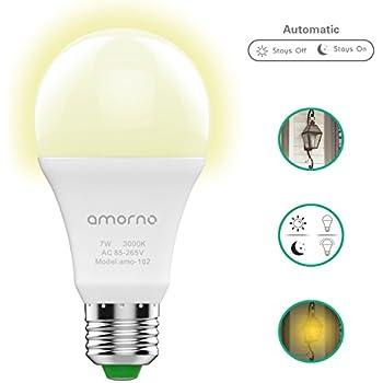 Dusk To Dawn Light Bulbs,AMORNO 7W E26/E27 Smart Sensor Light Bulb With