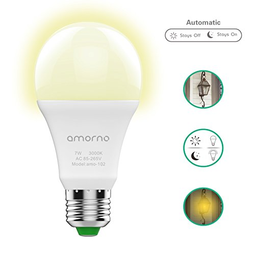 Dusk to Dawn light Bulbs,AMORNO 7W E26/E27 Smart Sensor Light Bulb with Auto on/off, Indoor / Outdoor LED Lighting Lamp for Porch, Hallway, Patio, Garage,Hallway(Warm White) (Walkway Lead)