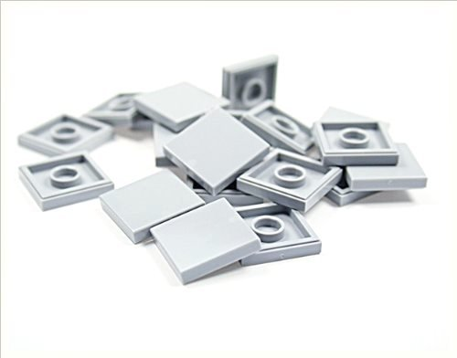 LEGO City - 20 tiles, 2x2 studs, in new light grey - flat surface - 3068
