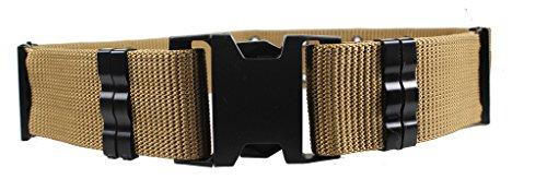 [ALAIX Men's Military Style Nylon Survival Tactical Belt 5.5CM Adjustable With Plastic Buckle Khaki] (Buckle Khaki)