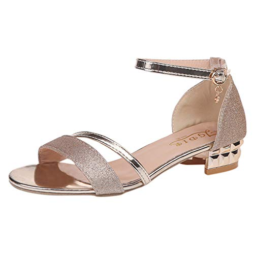 (Women Ankle Mid Heel Block Sandals Open Toe Party Shoes Gold)