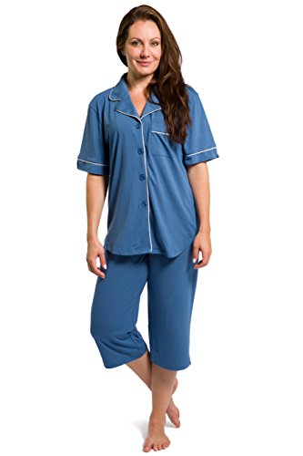 Fishers Finery Women's Tranquil Dreams Capri Pajama Set  Comfort Fit, Moonlight Blue, X-Large