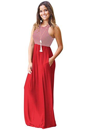 Tank Sleeveless Dress Dress Summer Maxi with JYUAN Neck Striped Maxi Casual Womens Long Red Crew Pockets qSxxwzT