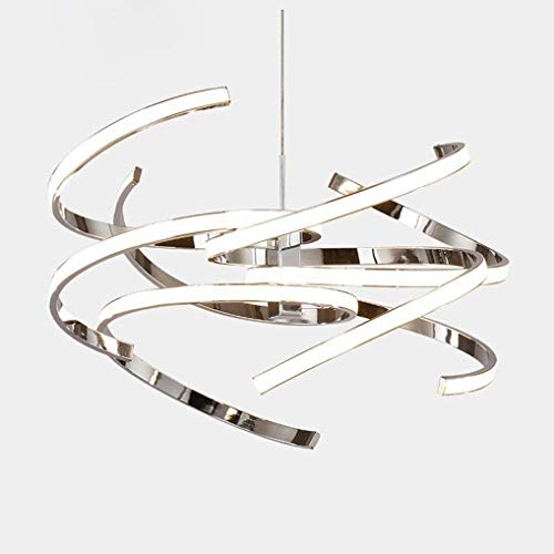 BOSSLV Led 55W Pendant Lamp Modern Art Design Chrome Aluminum Metal Pendant Lamp Creative Personality Bedchamber Hanging Lamp Height Adjustable 47Cm 3200K Warm -