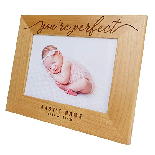 (You're Perfect+Name+Date of Birth-Happy Birthday,Birthday Gift for Men/Women,Baby Gift,Custom Picture Frame,Toddler Gift,Laser Engraving,Sonogram Picture Frame,Pregnancy Gift,Kid (4x6 Horizontal))
