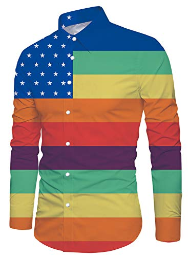 Uideazone Men Shirt Gay Pride Rainbow Male Button Down Long Sleeve Shirts Top X-Large