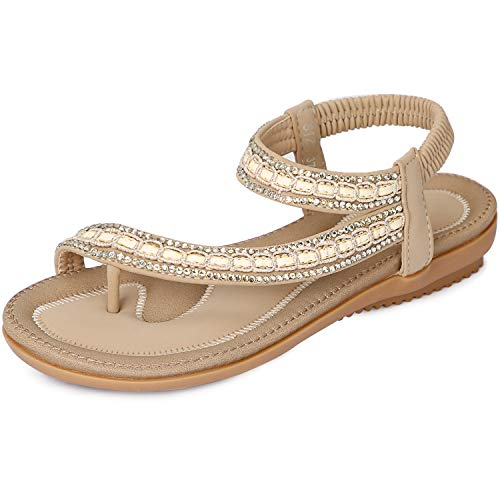 ZOEREA Women Sandals Shoes Flip Flops Ankle Strap Summer Sandals (9.5 M US, Apricot)