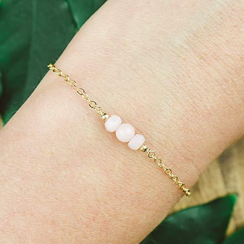 Dainty crystal pink peruvian opal bracelet in 14k gold fill - 6