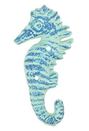 (Cast Iron Wall Hook Blue Seahorse Design 5.5