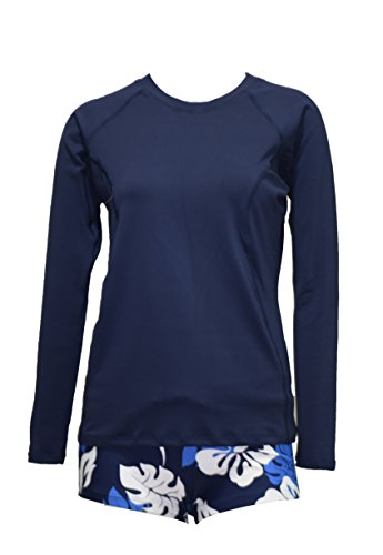 Private Island Hawaii Women Long Sleeve Rash Guard Top (XX-Large, Navy)