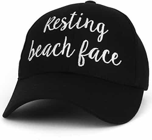 b5b15e548e395d Trendy Apparel Shop Resting Beach Face Cursive Texts Embroidered Baseball  Cap