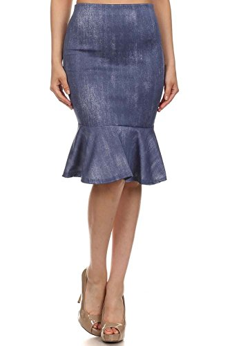 Women's Denim Look Mermaid Style Skirt. MADE IN USA (Large, Blue)