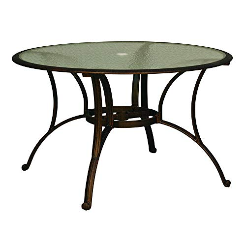 Cloud Mountain Outdoor Bisrto Table Patio Table Round Tempered Glass Top Dining Table 48″ with Umbrella Hole, Bronze