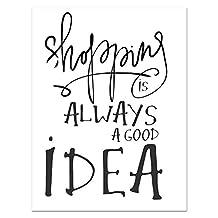 Asiproper Shopping is Good Idea Wall Sticker Girls Bedroom Store Window Decal Sticker