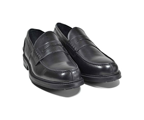 Saxone Of Scotland mocassino loafer PELLE nero fondo commando