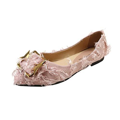 Bout Flops Plates on Ladies Solide Filles Fashion Chaussures Mocassins Simples Hibote Rose Plein Sweet Femmes Flip Shoes Pointu Slip Air Casual En À I6gqw