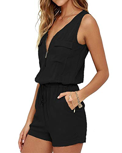 SUNNYME Women's Sleeveless Rompers Summer Casual Loose V Neck Short Jumpsuits Pants Z-Black 3XL ()