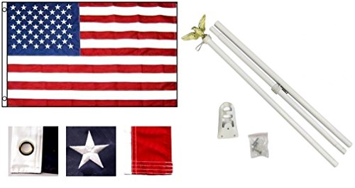 3'x5' US AMERICAN Nylon Flag with Embroided Stars and 6' POLE KIT