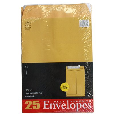 Norcom 68510-6 9'' X 12'' 28# Kraft Envelopes 25 Count