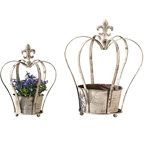 Fleur De Lis Crown Centerpiece Planters with Pots, Set of 2, Trellis Topped Topiary Forms, 12 1/2 D x 15 3/4 H, and 8 3/4 D x 11 3/4 Inches, Iron, Distressed, Rustic Gray Patina, Ball Feet