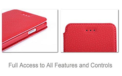 iPhone 6 plus(5.5 inch) Tasche Schutzschale, Fyy hochwertige umweltfreundliche KunstlederHülle (Tasche Schale Schutzhülle Case Cover Etui) Rot für iPhone 6 plus(5.5 inch)