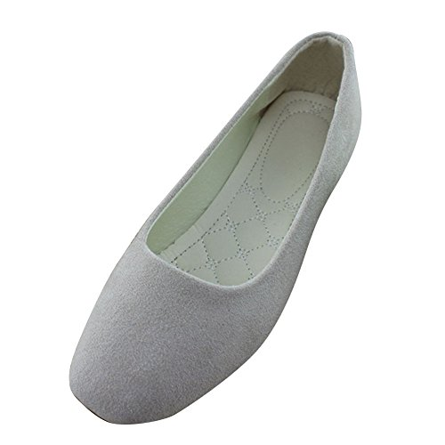MISSMAO Plain Ballerina Flats, Summer Girls Ladies Breathable Low Cut Pointed Toe Slip On Solid Loafers Comfy Shoes Beige
