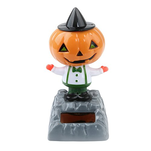 PENGYGY Solar Powered Dancing Halloween Swinging Animated Bobble Dancer Toy Car Decor car shaking head doll color -