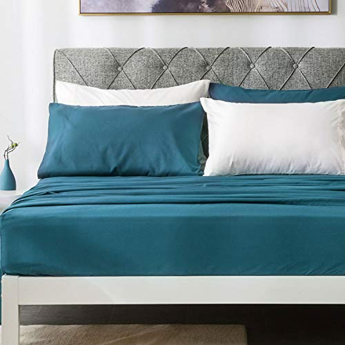 Bedsure Microfiber Bed Sheet Set (Queen Size, Teal) - Moisture Wicking & Stain Release - 4-Piece Bed Sheets (1 Deep Pocket Fitted Sheet, 1 Flat Sheet, 2 Pillowcases) (Sheet Teal)