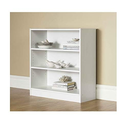 Mainstay* 3-Shelf Bookcase   Wide Bookshelf Storage Wood Furniture, White (White) ()